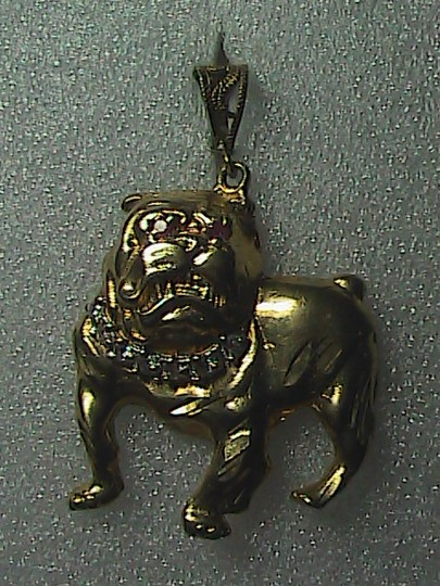 Vintage Vintage 10k Yellow Gold Bulldog w/ Ruby Eye & CZ Necklace Pendant
