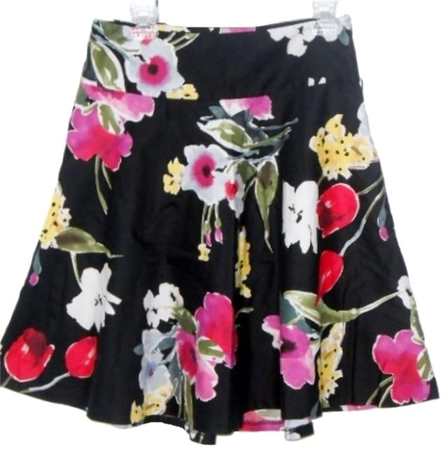 American Living Short Summer Skirt multicolored floral with black background