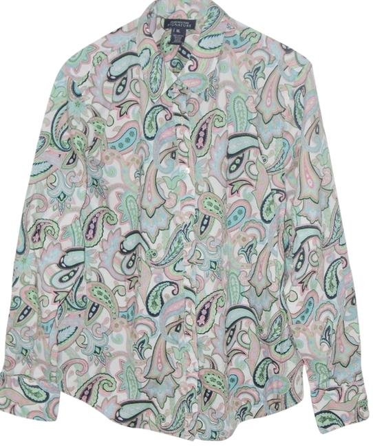 Jones New York Long Sleeved Shirt Top multicolored paisley coral and sage w/black on white background