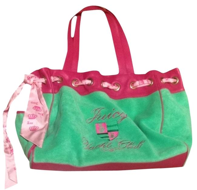Item - Green and Pink Fabric Leather Weekend/Travel Bag