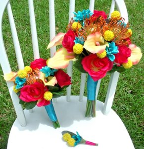 Aqua Summer Bridal Bouquet Set
