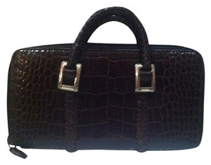 Brighton Crocodile Wristlet in Red/Brown