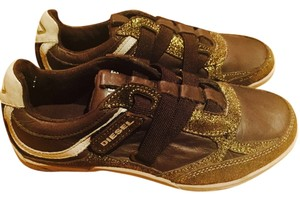Diesel Leather Velcro Brown & Gold Athletic