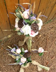 Vintage/rustic Rose Bridal Bouquet Set