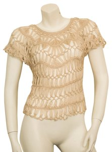 Anthropologie Crochet Knit Lace Boho Bohemian Hippy Hippie Hipster Cochella Spring Summer Neutral Sheer See Through Oversized Loose Top Beige