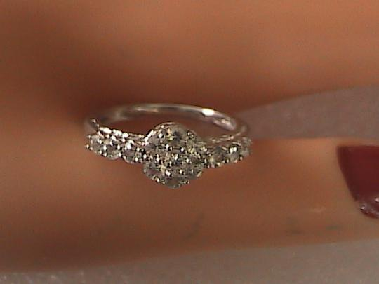 Other Sterling Silver Cluster CZ Band Ring