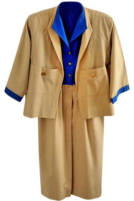Preload https://item5.tradesy.com/images/blue-tan-neiman-marcus-exclusive-2-piece-dress-and-jacket-skirt-suit-size-6-s-3238009-0-0.jpg?width=400&height=650