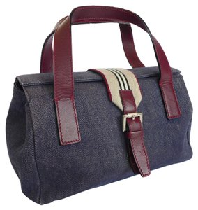 Burberry Genuine Denim Satchel in Blue Canvas and Burgundy Leather
