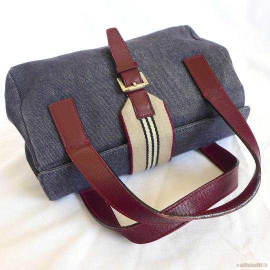 Burberry Genuine Denim Small Bowling Doctor's Handbag Satchel in Blue Canvas and Burgundy Leather