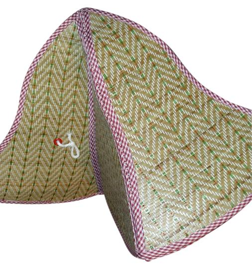 Gingham trimmed straw sun hat summer hat that folds flat carry in tote bag all over great accessory for sun rain