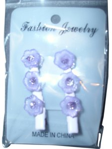 Purple flowers Triple resin lucite flowers on hair clip in purple hairclip clipon barrette