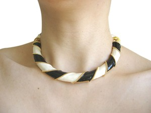 Kenneth Jay Lane kenneth lane gold black and white stripe necklace