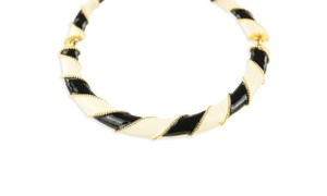 Kenneth Jay Lane White Stripe Enamel Collar
