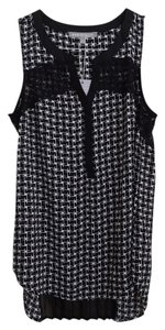 Daniel Rainn Lace Trim Top black and white pattern