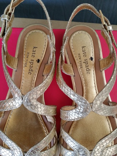 Kate Spade Snakeskin Leather Classic Preppy Gold Sandals