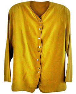 Preng Ddang Scalloped Button Down Shirt mustard
