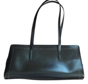 Francesco Biasia Smooth Leather Tan Stitching On Front Satchel in black