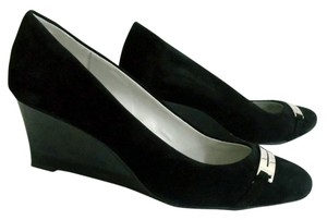 Calvin Klein Suede Silver Buckle Black Wedges