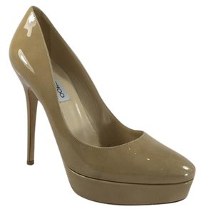 Jimmy Choo Nude Tan Patent Leather Stiletto Beige Pumps