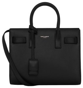 Saint Laurent Leather Gold Hardware Tote in Black