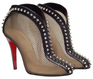Christian Louboutin Mesh Fishnet Leather Spike Silver Hardware Studded Ankle Stiletto Round Toe Bourriche Embellished 100 100 Mm Spiked Black Boots