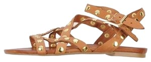 Turkey Designer Brand New Soft Leather Gladiator Studded Tan Sandals