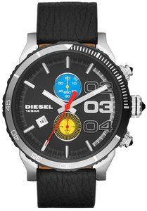 Diesel Diesel Men's Chronograph Double Down 48 Black Leather Strap Watch 48mm DZ4331
