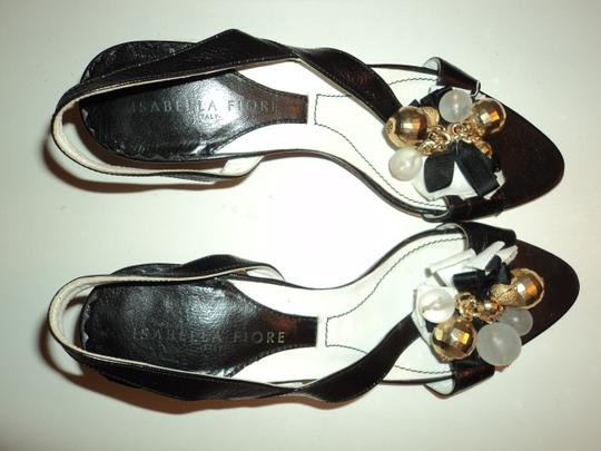 Isabella Fiore Leather Retro Art Deco Slingback Italian Black Formal