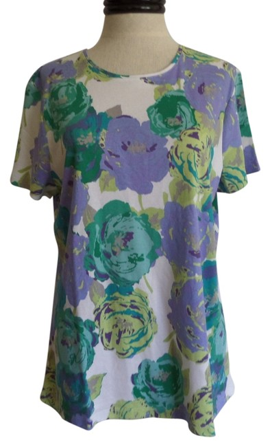 Preload https://item5.tradesy.com/images/croft-and-barrow-white-green-and-purple-floral-print-t-shirt-3240499-0-0.jpg?width=400&height=650