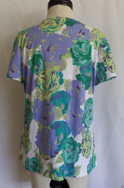 Croft & Barrow T Shirt White Green and Purple Floral Print