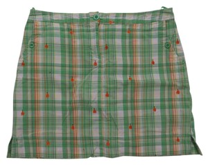 Izod Skort Green and White Plaid