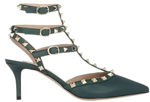 Valentino Leather Studded Forest Green Pumps