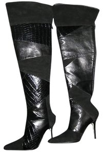 Manolo Blahnik Alligator Over-knee Black Alligator/Suede Boots