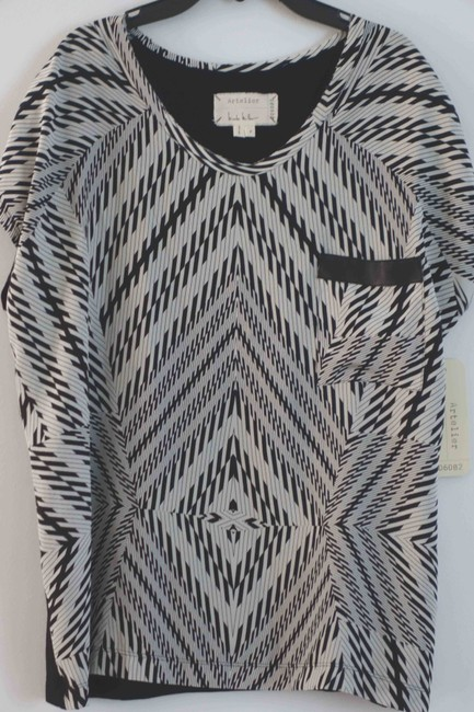 Nicole Miller Silk Print Abstract Boxy Fit Top