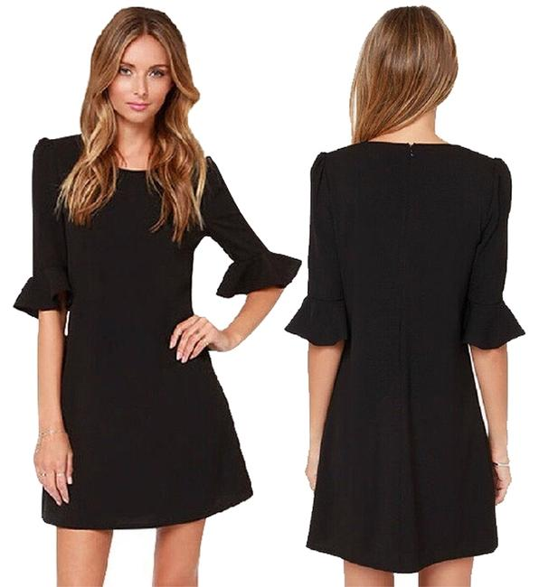 Preload https://item4.tradesy.com/images/black-flounce-sleeve-shift-short-casual-dress-size-6-s-3241033-0-0.jpg?width=400&height=650