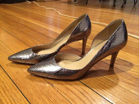 J.Crew Snakeskin Whipsnake Metallic D'orsay Collection Valentina Mid Heel Silver Pumps
