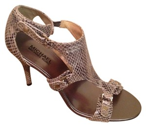 Michael Kors Embossed Gunmetal Silver Gunmetal Embossed Sandals