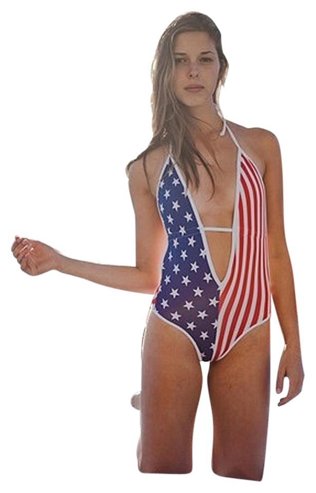 294dbe2d9717e American Apparel Red White & Blue Flag Monokini One-piece Bathing Suit
