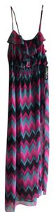 Pink and blue multi Maxi Dress by Chiffon Maxi