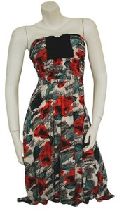 B.P.T. USA short dress white, red, teal, gray Rose Roses Floral Flowers on Tradesy