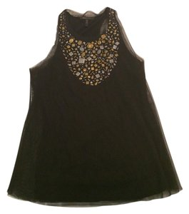 BCBGMAXAZRIA Mesh Embellished Top black