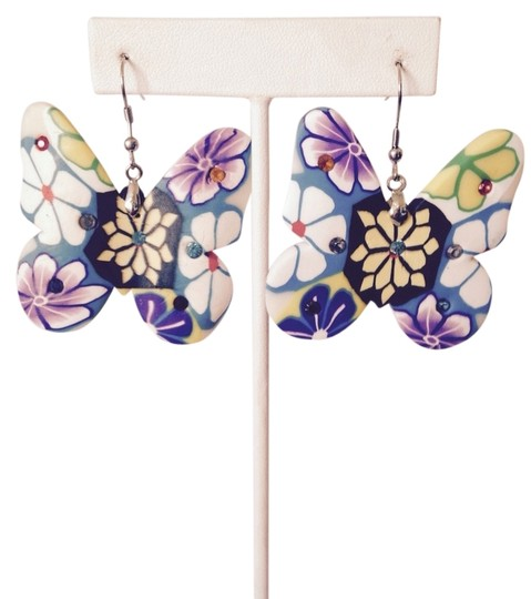 Other Clay Floral & Crystal Butterfly Dangle Earrings