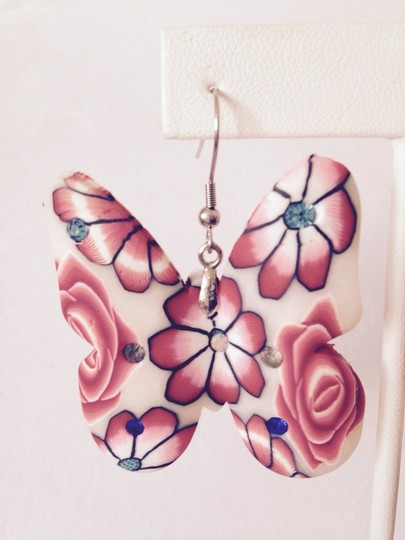 Other Red Clay Floral& Crystal Butterfly Dangle Earrings