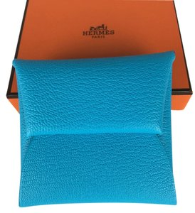 Hermès BNIB Authentic HERMES Blue Aztec Bastia Wallet Coin Purse Chevre