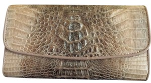 NINA RAYE NINA RAYE GENUINE CROCODILE/ALLIGATOR LEATHER SKIN BEIGE LONG WALLET