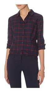 Joe Fresh Plaid Button Down Button Down Shirt Blue/Red