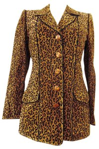 Emanuel Ungaro Animal Suede Leather Leopard Blazer