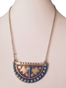 Lucky Brand Large Turquoise Gold-Tone Pendant Necklace