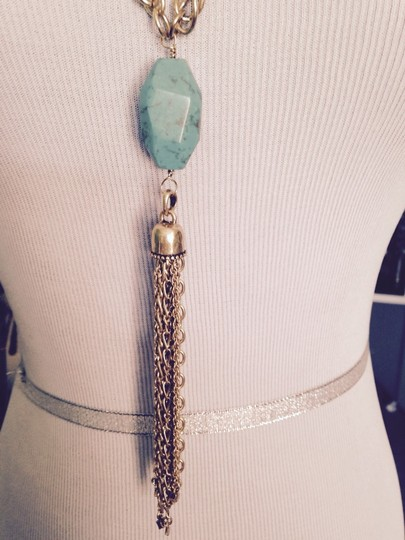 Lucky Brand Turquoise Tassel Gold-Tone Necklace
