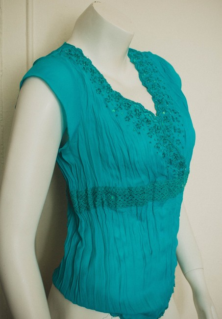 Luciano Dante Pleats Pleated Boho Bohemian Hippy Hippie Preppy Date Night Night Out Business Crepe Sequins Crochet Lace Ballet Wrap Top teal, turquoise, aqua